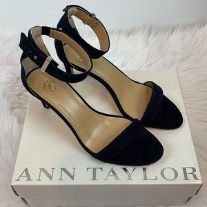 - Ann Taylor Navy Alaina Suede Ankle Strap -…